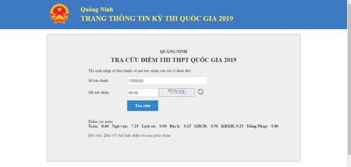 Điểm thi của thí sinh Nguyễn Hoàng Cường - Quán quân Đường lên đỉnh Olympia 2018.(Ảnh: Fanpage Đường lên đỉnh Olympia)