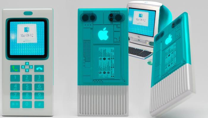 """Trong khi đó, chiếc iPhone được thiết kế dựa trên mẫu iMac G3 sẽ có thiết kế nổi bật hơn với phần vỏ nhựa trong suốt, nhiều tùy chọn màu sắc trẻ trung cũng như có logo """"Táo Khuyết"""" phát sáng."""