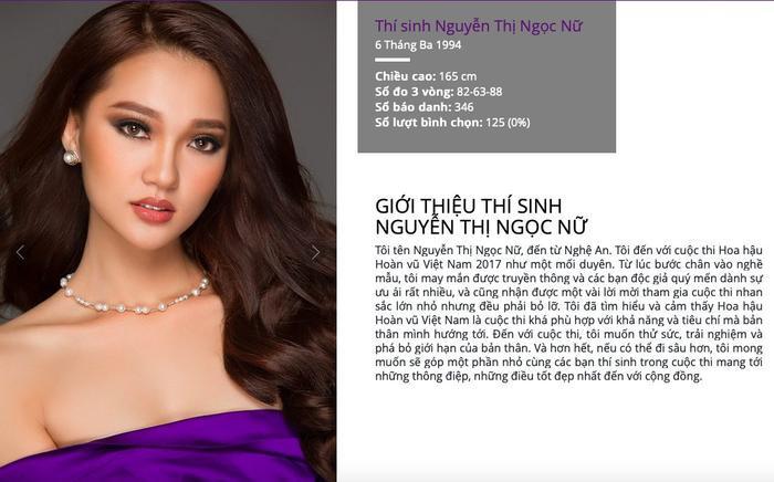 Sau đó trong phần giới thiệu cá nhân trên trang chính thức của Hoa hậu Hoàn vũ Việt Nam cho biết cô chỉ cao 1m65, số đo 3 vòng là 82-63-88, cm.