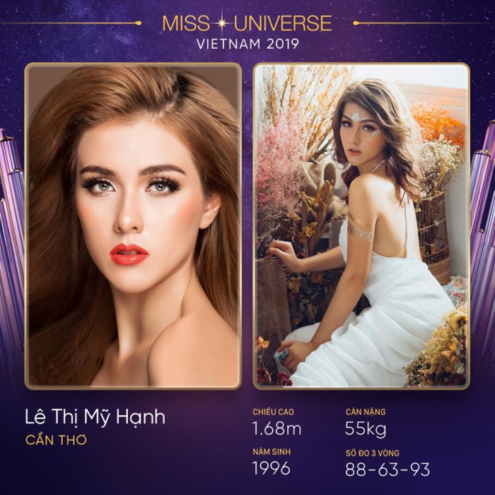 Lần thứ hai đến với Hoa hậu Hoàn vũ Việt Nam, thí sinh Lê Thị Mỹ Hạnh tiếp tục khai khống chiều cao của mình. Cô cho biết mình cao 1m68.