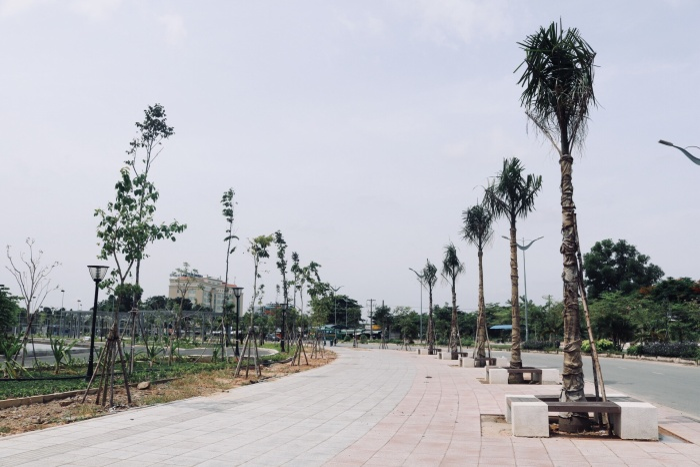 Cây xanh được trồng xung quanh công trình nhằm gắn kết tòa nhà với những mảng không gian xanh, tạo sự tươi mát cho khuôn viên