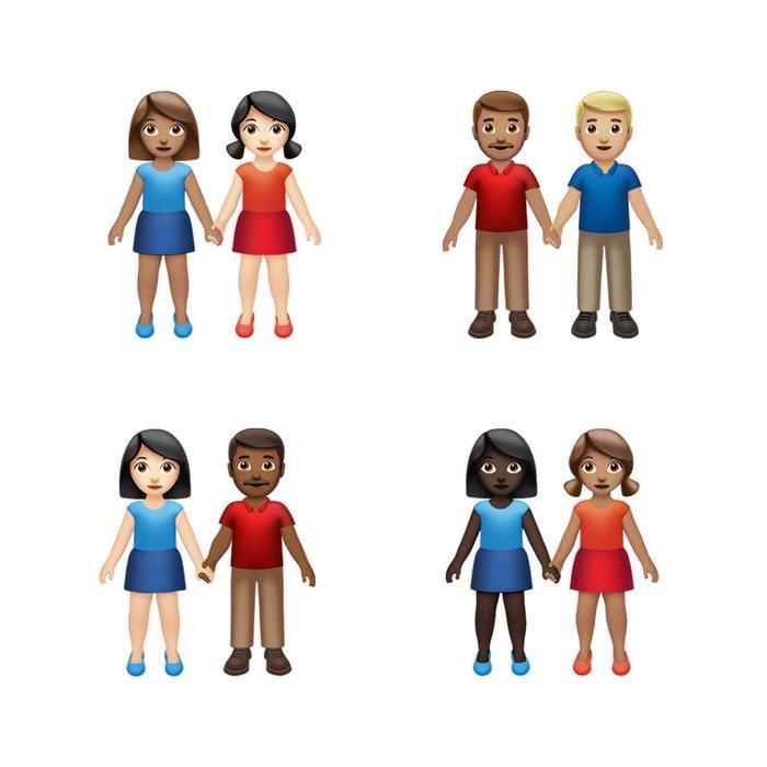 Phiên bản emoji nắm tay mới sẽ cho phép người dùng chọn giữa các cách kết hợp màu da và giới tính. Apple nói sẽ có tổng cộng 75 cách kết hợp khác nhau giữa các yếu tố này.