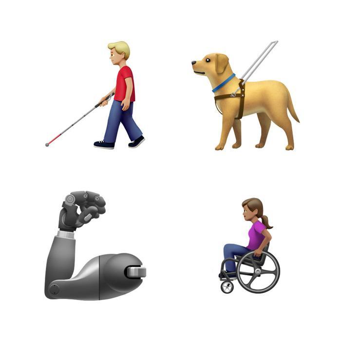 Khi nhắc đến các emoji mới để thể hiện những người khuyết tật, Apple giới thiệu emoji bao gồm một chú chó dẫn đường, một đôi tai có thiết bị trợ thính, cánh tay robot, emoji xe lăn và một số emoji khác.