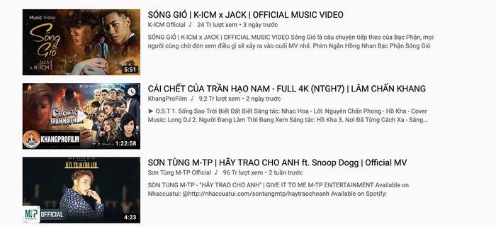 """Phim ca nhạc của Lâm Chấn Khang bất ngờ vượt mặt MV """"Hãy trao cho anh"""" của Sơn Tùng M-TP trên top trending YouTube."""
