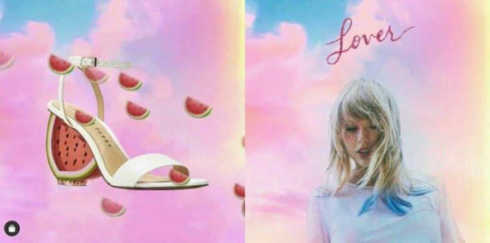 Katy Perry sử dụng bìa album của Taylor Swift để quảng cáo cho… thương hiệu giày của mình.