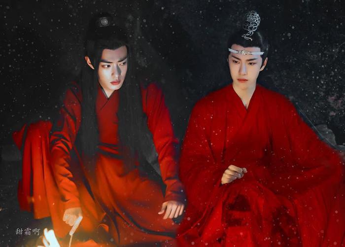 Chỉ cần thay bộ trang phục trắng của Lam Vong Cơ thành màu đỏ là lập tức có một… bộ đôi mặc hỷ phục rồi.