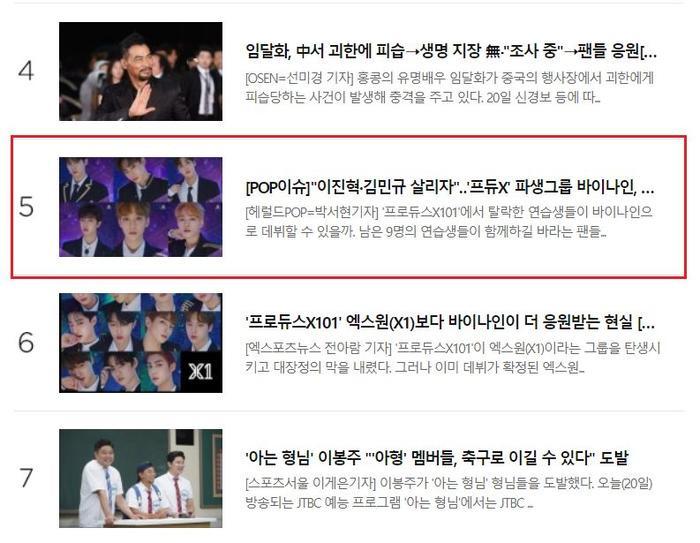 Đứng thứ 5 trên bảng xếp hạng những bản tin được quan tâm và đọc nhiều nhất tại Naver.