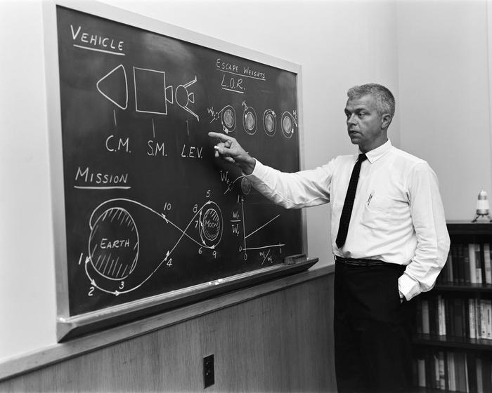John C. Houbolt, một kĩ sư NASA, đang giải thích khái niệm mặt trăng - quỹ đạo - điểm hẹn cho cuộc đổ bộ lên mặt trăng năm 1962.