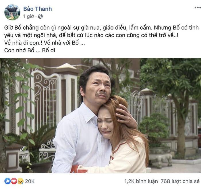 Là người được khen rất nhiều vì những giọt nước mắt xuất thần, Bảo Thanh cho biết cảnh quay này khiến cô nhớ Bố của mình.
