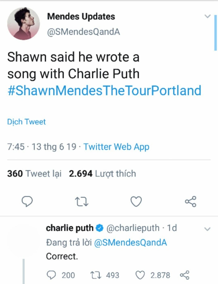 Cách đây không lâu, Charlie Puth đã lên tiếng xác nhận về một màn hợp tác giữa mình và Shawn Mendes.