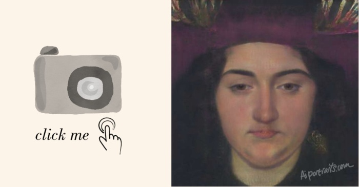 """Đểbiến ảnh sống ảo thành tác phẩm thời phục hưng bạn chỉ cần truy cập đường dẫn Aiportraits.com. Sau đó ấn chọn """"Click me"""" và đăng tải hình ảnh selfie mà bạn thích."""