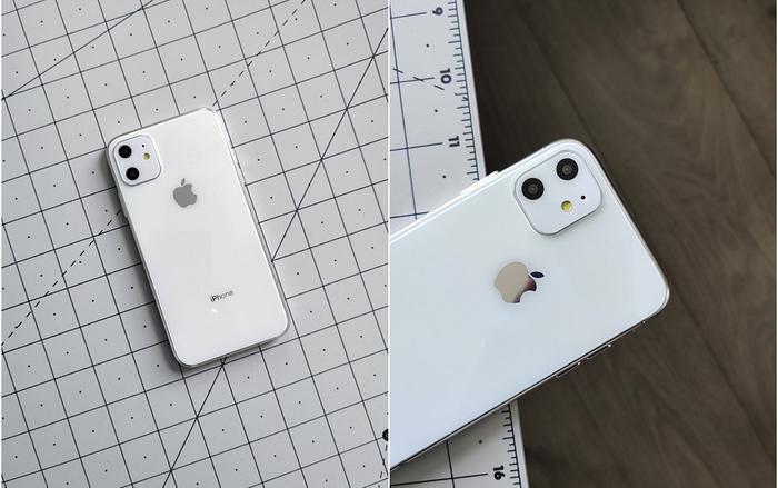 Chiếc iPhone 11R trong đoạn video sở hữu cụm camera hình vuông với các ống kính được làm nổi bật.