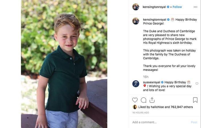Meghan và Harry gửi lời chúc mừng sinh nhật đến George. (Ảnh: Instagram/ Kensington Royal)