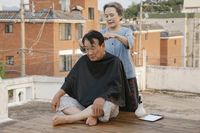 được bà cắt tóc cho,