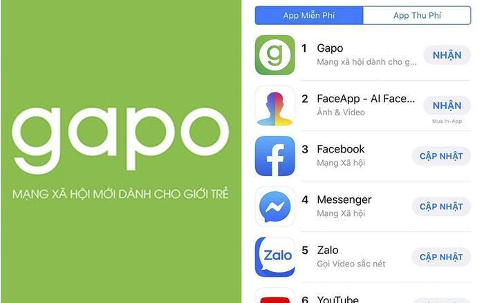 Gapo hiện đang dẫn đầu kho ứng dụng của Apple với 100.000 người dùng sau một ngày ra mắt.