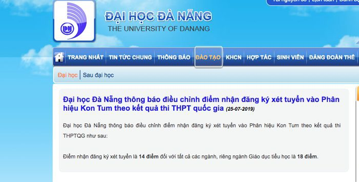 Trường ĐH Đà Nẵng vừa thông báo điều chỉnh mức điểm sàn tại phân hiệu Kon Tum – Ảnh chụp màn hình