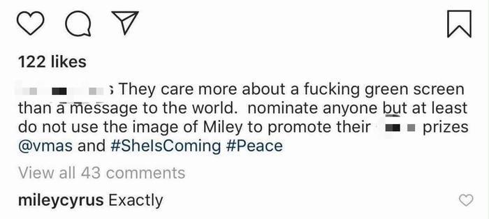 Miley Cyrus đồng tình với quan điểm của người hâm mộ.