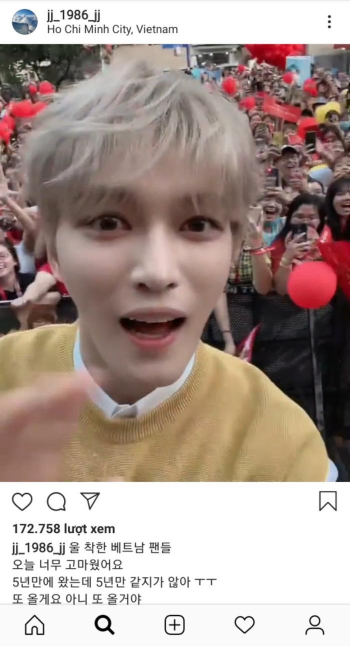 Kim Jae Joong đã chia sẻ trên trang instagram cá nhân của mình đoạn clip anh chàng selfie với người hâm mộ Việt Nam.