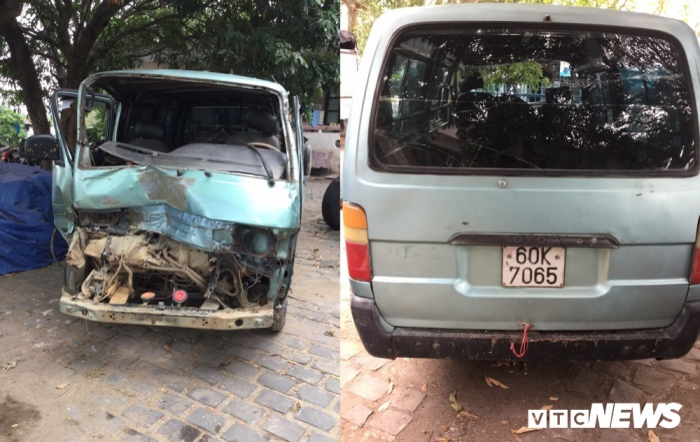 Xe chở gỗ lậu tại cơ quan điều tra. Ảnh: báo VTC News