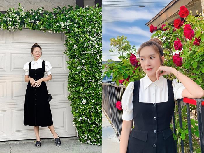 Minh Hà trẻ như thiếu nữ với chiếc váy yếm màu đen
