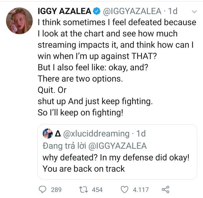 Iggy Azalea cảm thấy thất vọng về album của mình.