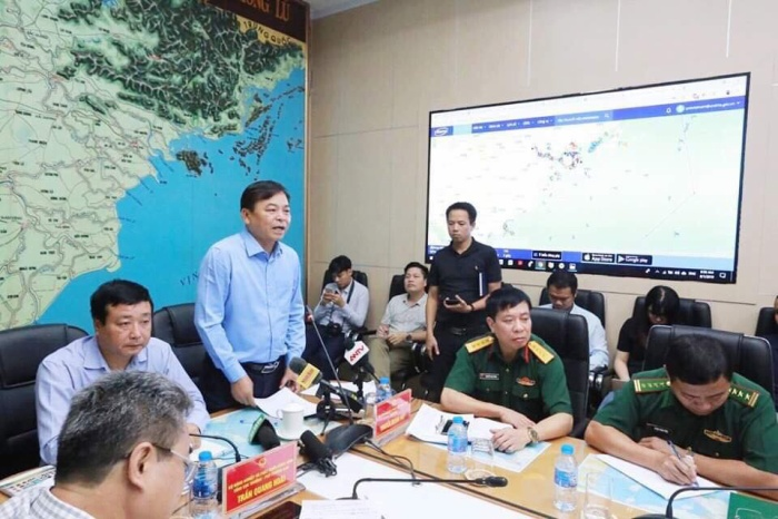 Ông Nguyễn Hoàng Hiệp, Thứ trưởng Bộ Nông nghiệp và Phát triển Nông thôn tại cuộc họp chỉ đạo phòng chống cơn bão số 3.