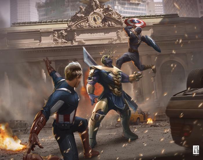 Phân cảnh 2 Captain America cùng nhau chiến đấu với Thanos cũng là thứ khiến các fan mơ tưởng tới.