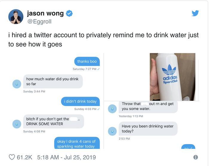Anh chàng bỗng chốc nổi tiếng nhờ người khác nhắc nhở mình uống nước trên mạng xã hội.