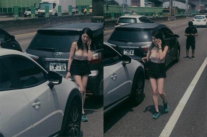 Va chạm xe trên đường, nữ tài xế khiến người dân chú ý vì… vẻ ngoài quá gợi cảm