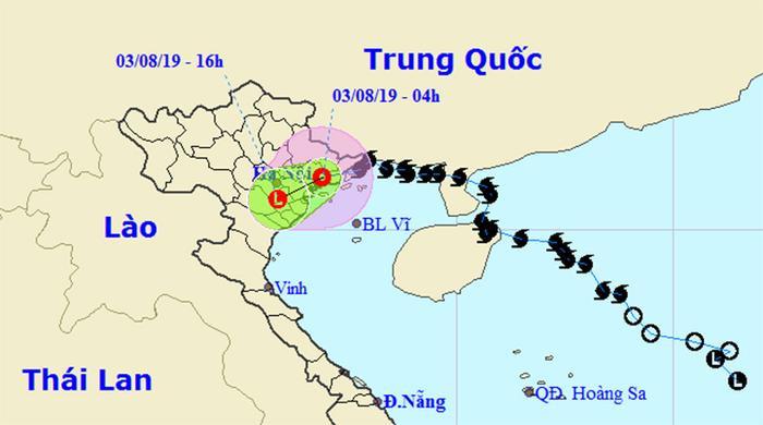 Sau khi đổ bộ vào Quảng Ninh, bão số 3 suy yếu thành áp thấp nhiệt đới, gây mưa lớn ở các tỉnh Bắc Bộ. Ảnh: Trung tâm Khí tượng Thủy văn Quốc gia