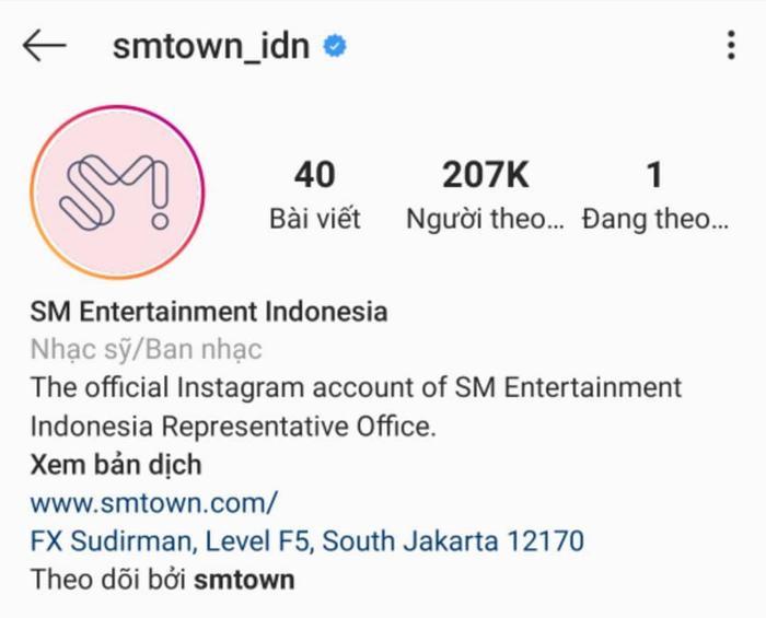 Tài khoản SM Indonesia được cấp tích xanh và theo dõi bởi account chính của công ty này.