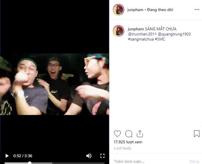 Dòng trạng thái và đoạn clip được Jun Phạm đăng tải trên Instagram cá nhân.