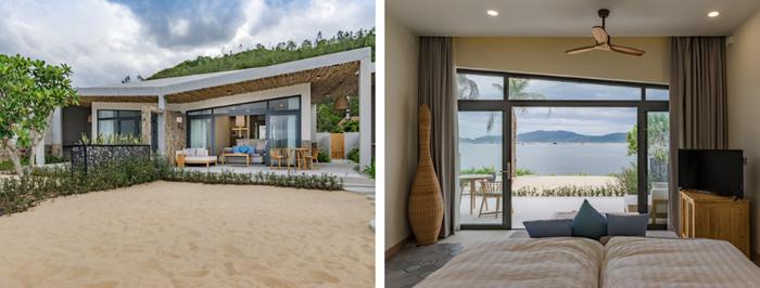 Có view hướng biển tuyệt đẹp, bãi cát trắng mịn màng, rặng dừa cao xanh mướt, được thức dậy cùng ánh nắng chan hòa sẽ là trải nghiệm yêu thích của những ai có dịp đặt chân đến Quê Tôi Village.