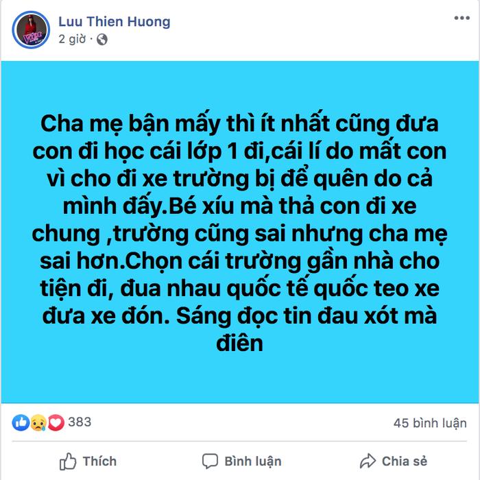 Nhạc sĩ - nhà sản xuất âm nhạc Lưu Thiên Hương mong các bậc phụ huynh cẩn trọng hơn trong việc đưa đón các cháu nhỏ đi học.
