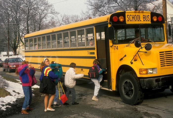 Một chiếc xe buýt đưa đón học sinh ở bang Pennsylvania, Mỹ.