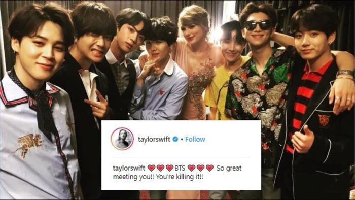 Trước đó Taylor Swift và BTS đã có dịp gặp gỡ tại hậu trường của một lễ trao giải.