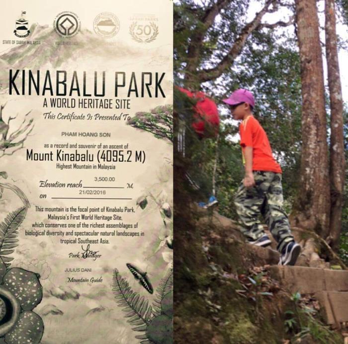Chứng nhận chinh phục 3.500 mét độ cao ở núi Kinabalu của cậu bé Hoàng Sơn.