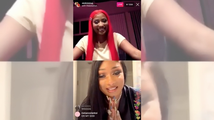 Nicki Minaj và Megan The Stallion trong một buổi livestream cùng nhau.