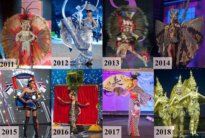 Các thiết kế giành chiến thắng Best National Costume tại Miss Universe từ năm 2011 đến 2018.