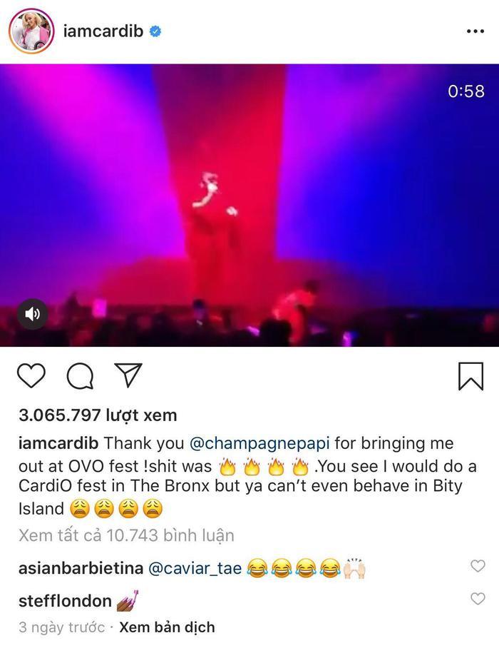 Cardi B gửi lời cảm ơn Drake trên trang cá nhân.