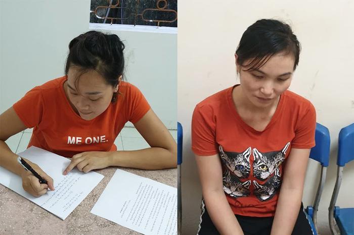Lương Thị Khấy (trái) và Lô Thị Thanh (phải) tại cơ quan công an