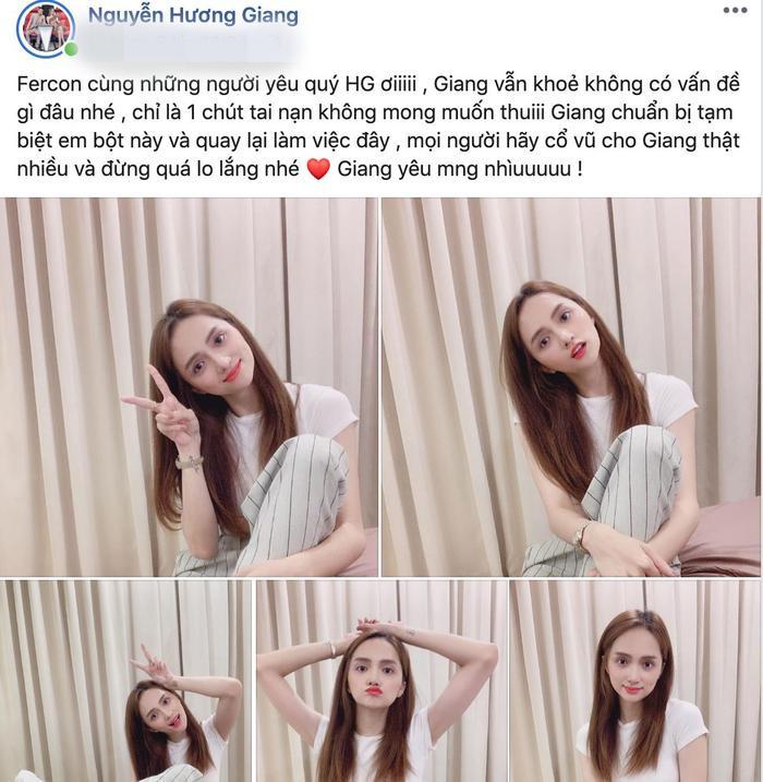 Hương Giang trấn an khi các fan lo lắng cho chấn thương gãy xương chân của cô nàng.