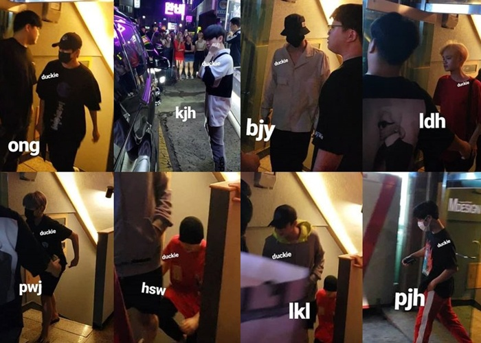 Các thành viên Wanna One tại buổi họp mặt được fan chụp lại.