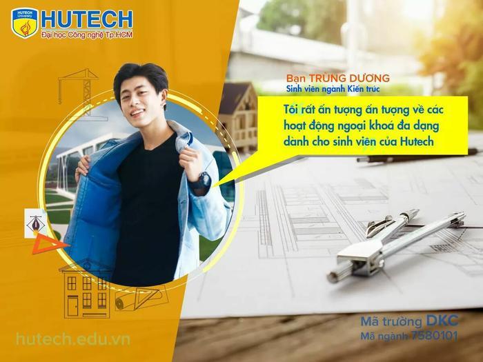Trùng Dương theo học ngành Kiến trúc tại trường ĐH Hutech TP HCM (Ảnh: FBNV)
