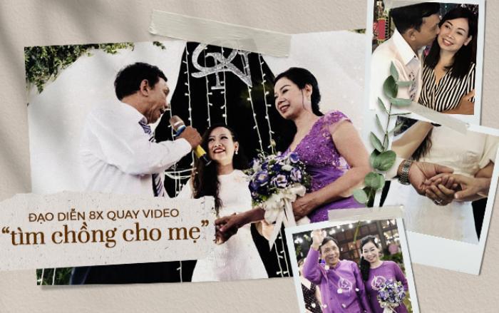 Đạo diễn Hoàng Lê Na và bố mẹ trong ngày cưới