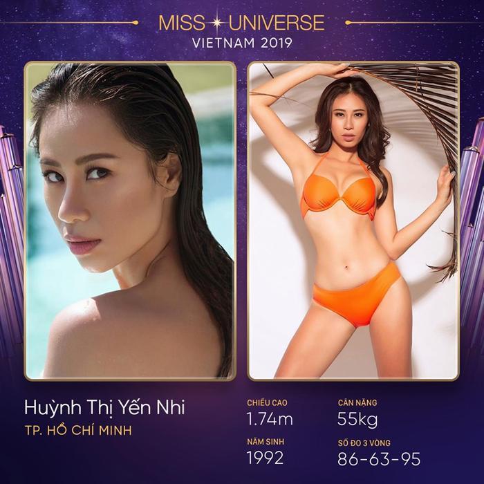 Yến Nhi là gương mặt vô cùng sáng giá và được nhiều fan sắc đẹp ủng hộ khi đến với Miss Universe Vietnam 2019. Cô nàng có hình thể nóng bỏng và gương mặt sắc sảo, hiện đại. Bên cạnh đó, kĩ năng chinh chiến nhiều cuộc thi trong và ngoài nước là một thế mạnh rất lớn của Yến Nhi khiến nhiều cô gái phải dè chừng nếu được phép tham gia cuộc thi năm nay.