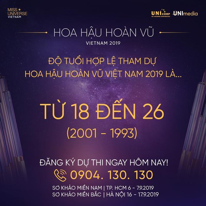 BTC Miss Universe Vietnam 2019 đăng thông tin quy định về độ tuổi tham gia dự thi.