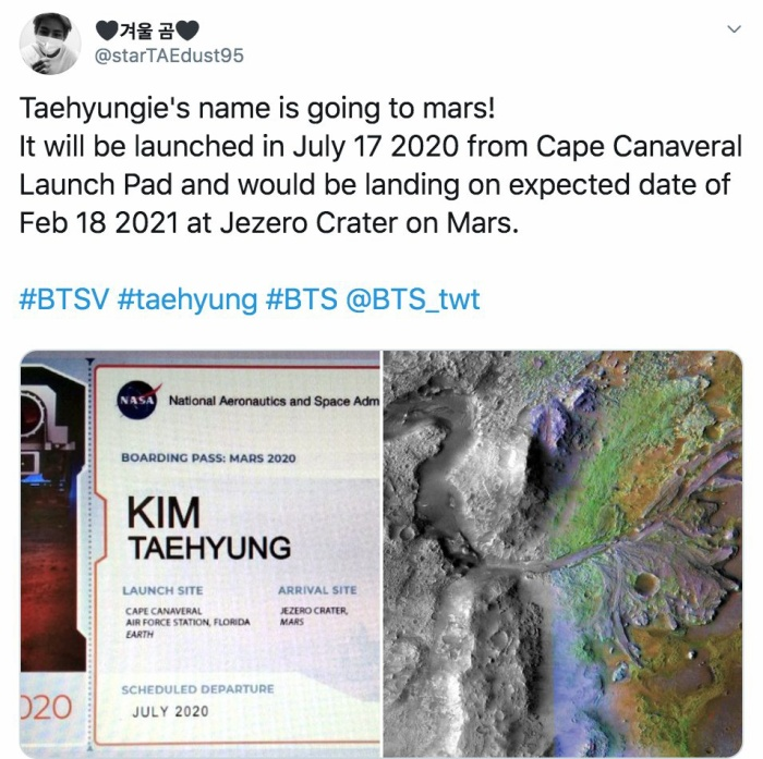 V (BTS) và thú cưng sẽ được gửi lên Sao Hoả vào tháng 7 năm sau? ảnh 1