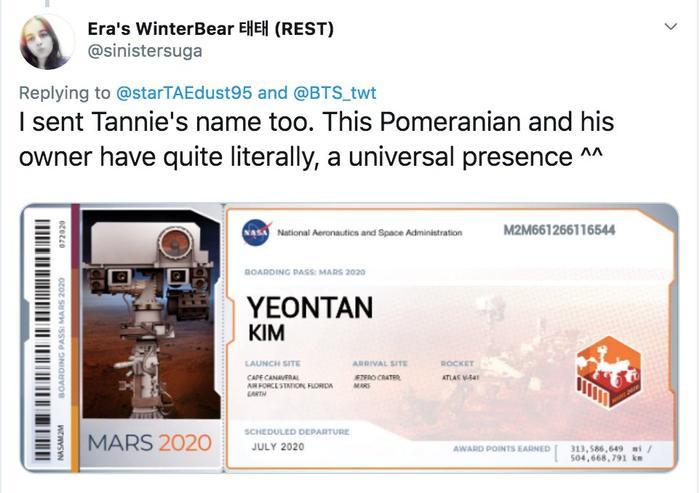 V (BTS) và thú cưng sẽ được gửi lên Sao Hoả vào tháng 7 năm sau? ảnh 2