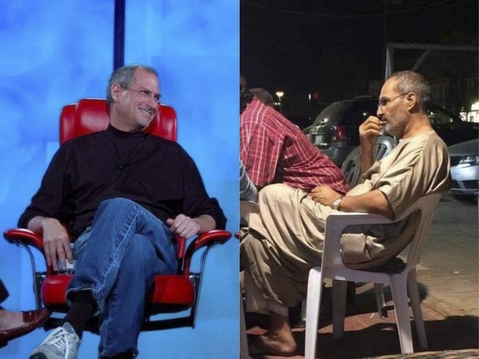 Bức ảnh về người đàn ông giống Steve Jobs đang gây tranh cãi trên mạng xã hội.
